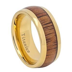 Titanium Wedding Band 9mm Ring w/ Yellow IP Domed Hawaiian Koa Inlay Size 7-15