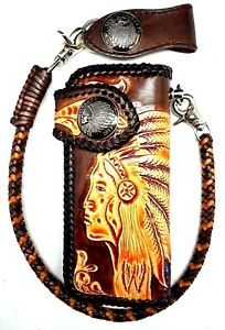 Biker Chain Wallet motorcycle trucker  tribal chief coin tooled engraved Leather