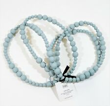 """Cb2 Matte Sterling Blue Wood Beaded Garland 120"""" - New *Dirt And Scuffing"""