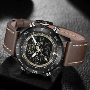 NAVIFORCE Luxury Brand Mens Sport Quartz Fashion Watches Digital Men Leather Ana