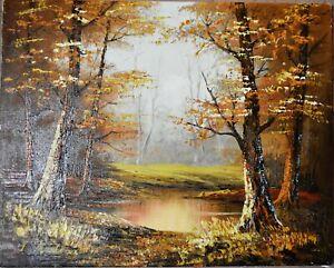 "Landscape oil painting on canvas unframed signed ""J. Medina"""