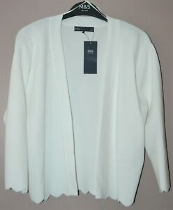 M&S SCALLOP EDGE FITTED CROPPED CARDIGAN OPEN FRONT SIZE 12 WHITE - BNWT