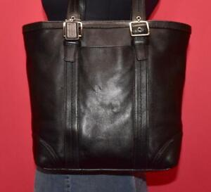COACH Hampton Black Leather Lunch Tote Carryall Shoulder Buckle Bag Purse #12607