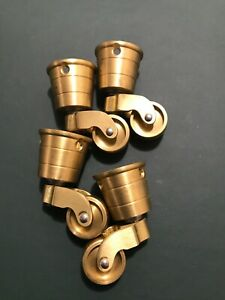 BRASS/BRONZE caster wheels lot NOS- old furniture roller cabinet chair! QUALITY!