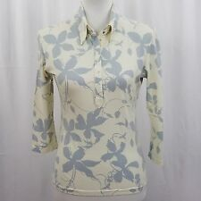 Hennes Women's Blouse Size Small White Lavender Floral 3/4 Sleeve Stretch Snaps