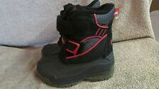 Totes Kids Winter Snow/Rain Boots - Size 6 - Black/Red -Insulated - New! (CA 11)