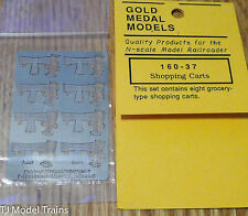 Gold Metal Models #16037 Shopping Carts (8 in pkg) Instructions on back (N Scale