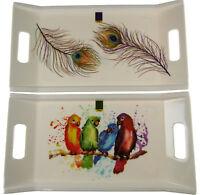 Melamine Sandwich / Tea Tray - Peacock Feather / Tropical Parrot