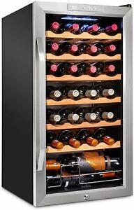 Ivation 28 Bottle Compressor Wine Cooler Refrigerator w/Lock | Large Freestandin