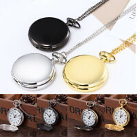 Vintage Smooth Pocket Watch Stainless Quartz Pendant Chain Necklace Jewelry