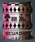 Hand Loomed Ecuador Wall Hanging Cotton Embroidery Floss Brown Pink Ethnic Decor