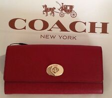 COACH 52345 RED EMBOSSED TEXTURED LEATHER ENVELOPE WALLET WITH POPUP POUCH NWT