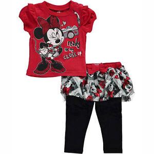 DISNEY Minnie Mouse 2pc Set T-Shirt Tutu Legging Toddler Girls Size 3-6 Months