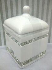 Bella Lux Style WHITE ROYAL Rhinestones Bling JAR Cotton Vanity Bath Bathroom