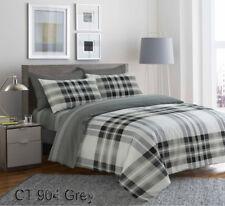 Luxury Style Reversible 4 Pcs Duvet Set Fitted Sheet Pillow Case 100 Cotton Super King Ct 904 Grey