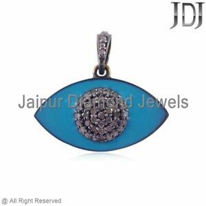 Blue Enamel Pave Diamond Evil Eye Pendant 925 Sterling Silver Handmade Jewelry