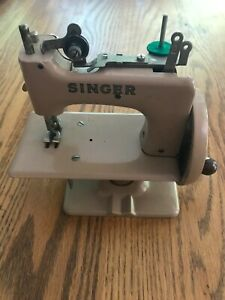 Singer Toy Sewing Machine-Beige-With Case, Clamp and Instruction Book