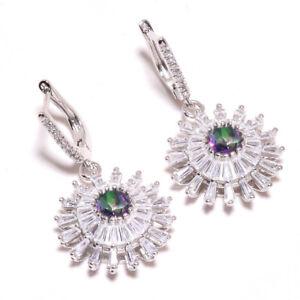"""Rainbow Mystic Topaz, White Topaz 925 Sterling Silver Jewelry Earring 1.56"""" W249"""