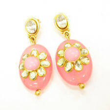 Stunning 925 Sterling Silver Gold Plated Crystal & Pink Chalcedony Earrings