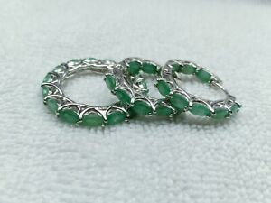 Natural Emerald Huggie 6*4mm 14k White Gold Plate 925Sterling Silver Jewelry Set