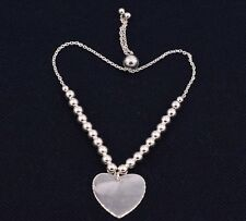 Heart Toggle Bead Ball Adjustable Bracelet Sterling Silver 925