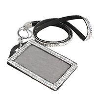 Rhinestone Bling Crystal Neck Lanyard Strap + Vertical ID Name Badge Holder
