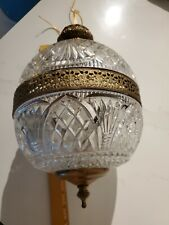 GORGEOUS Cut Glass & Brass Antique Hanging Ceiling Light Fixture Globe