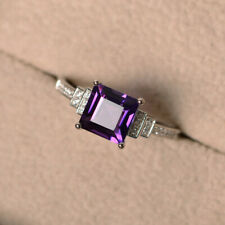 1.95 Ct Princess Cut Amethyst Diamond Wedding Ring 925 Sterling Silver Size M N
