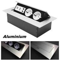 Tischsteckdose 2fach USB Aluminium Wandsteckdose Küchensteckdose versenkbar