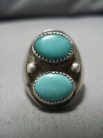 WONDERFUL VINTAGE NAVAJO GREEN TURQUOISE STERLING SILVER RING