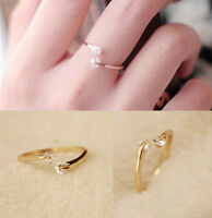 Trendy Womens Crystal Bridal Engagement Ring Open Adjustable Gold Size 7