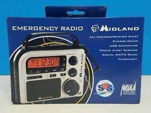 Midland ER102 Emergency Survival Radio Crank Power Weather Alert AM/FM Multi USE
