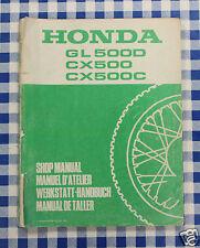 BB 6641500X Manual De Taller Honda GL500D CX 500 CX 500 C impresión 1982