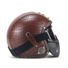 1PC Brown Motorcycle Helmets 3/4 Open Helmet PU Leather with Goggle Mask Special