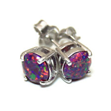 Dragons Eye Opal Round Brilliant 4 Claw Studs Sterling Silver (op76)