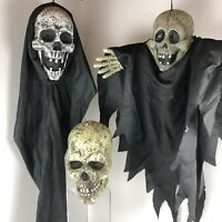 LOT OF 3 Halloween Decor Skulls Skeletons Hanging & Table Large Props