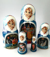 Russian Fairy Tale Nesting DOLL Hand Carved Hand Painted