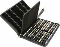 Fountain Pen Case Carry 48 Handle Pu Leather Organizer Storage Display Tray NEW
