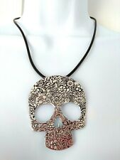 Ladies SKULL STATEMENT NECKLACE Silicone Rubber Thong Choker Collar Pendant