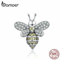 BAMOER Women European CZ Charm Jewelry S925 Sterling silver The bee Fit Bracelet