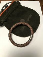 JOHN HARDY MENS  BROWN WOVEN LEATHER AND STERLING SILVER BRACELET !!