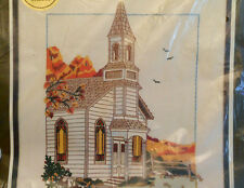 Easy COUNTRY CHURCH Paragon Stitchery Crewel Embroidery Kit NIP Vintage 1982