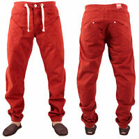 Brand New Enzo Regular Fit Drawstring Waist Cuffed Jeans Red Chinos Size 28R-36R