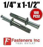 "(Qty 100) 1/4"" x 1 1/2"" Nail-On Concrete Expansion Anchor Drive Pin Alloy Zinc"