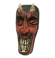 Devil Red Satan Demon Mask Folk Art Funny Scary Wall Art Hanging 12 inch Long