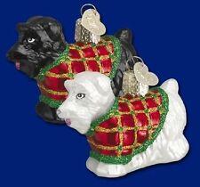 Dog Ornament Glass Scotty Dog White Old World Christmas 12101 25