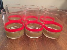 """Set of 6 ~ Mid Century ~ Red & Green Stripe Holiday Glass Tumblers ~ 4"""" Tall"""