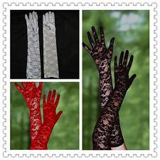 femmes blanc noir rouge long dentelle extensible fête de noces Soirée Bal gants