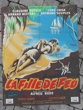 AFFICHE CINEMA vintage :LA FILLE DE FEU / 1958 / ALFRED RODE litho 80x60