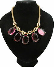 RUBY RED COLOURED PENDANTS STATEMENT NECKLACE ON GOLD COLOURED CHUNKY CHAIN